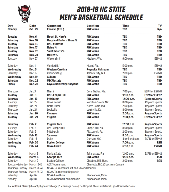 Release Nc State Releases 2018 2019 Men S Basketball Schedule
